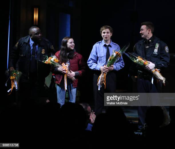 Brian Tyree Henry, Bel Powley, Michael Cera and Chris Evans during the the Broadway Opening Night Performance curtain call for 'Lobby Hero' at The...
