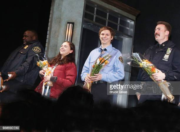 "Brian Tyree Henry, Bel Powley, Michael Cera and Chris Evans takes their opening night curtain call in the play ""Lobby Hero"" on Broadway at The Helen..."