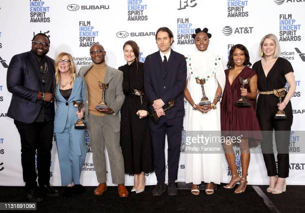 Brian Tyree Henry Dede Gardner Barry Jenkins Adele Romanski Jeremy Kleiner Kiki Layne Regina King and Sara Murphy pose in the press room with the...
