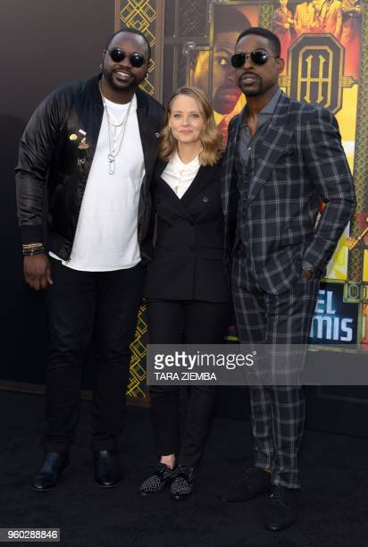 Brian Tyree Henry, Jodie Foster and Sterling K. Brown attend the Los Angeles premiere of 'Hotel Artemis' on May 19, 2018 in Westwood Village,...