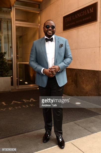 Brian Tyree Henry poses for a photo as the 2018 TONY award nominees prep at Langham Hotel on June 10 2018 in New York City