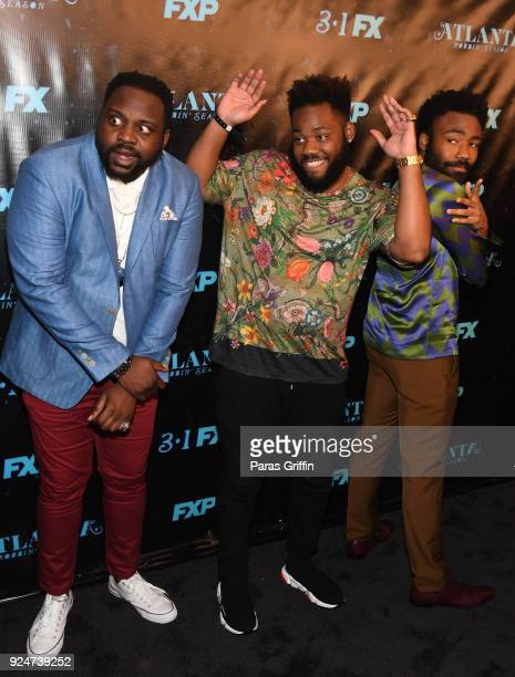 """Brian Tyree Henry, Stephen Glover, and Donald Glover attend """"Atlanta Robbin' Season"""" Atlanta Premiere at Starlight Six Drive In on February 26, 2018..."""