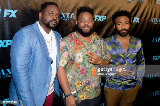 Brian Tyree Henry Stephen Glover and Donald Glover attend the 'Atlanta Robbin' Season' Atlanta premiere at Starlight Six Drive on February 26 2018 in...