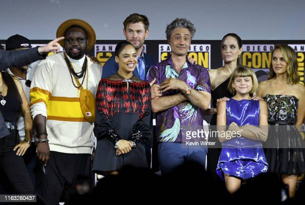 Brian Tyree Henry, Tessa Thompson, Chris Hemsworth, Taika Waititi, Angelina Jolie, Lia McHugh and Natalie Portman speak at the Marvel Studios Panel...