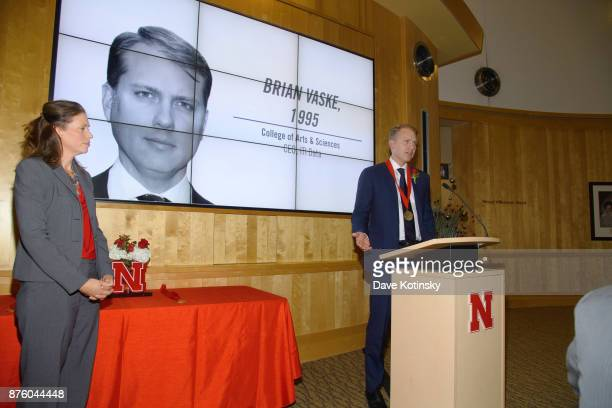 Brian Vaske CEO of ITI Data at the University of NebraskaLincoln after accepting the 2017 Alumni Master Medallion on November 3 2017 in Lincoln...