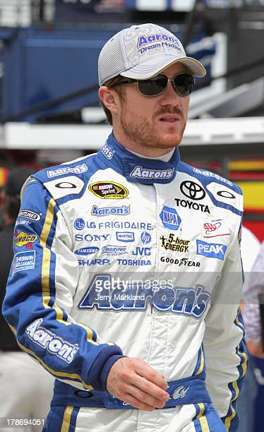 Brian Vickers driver of the Aaron's Dream Machine Toyota looks on during practice for the NASCAR Sprint Cup Series AdvoCare 500 at Atlanta Motor...