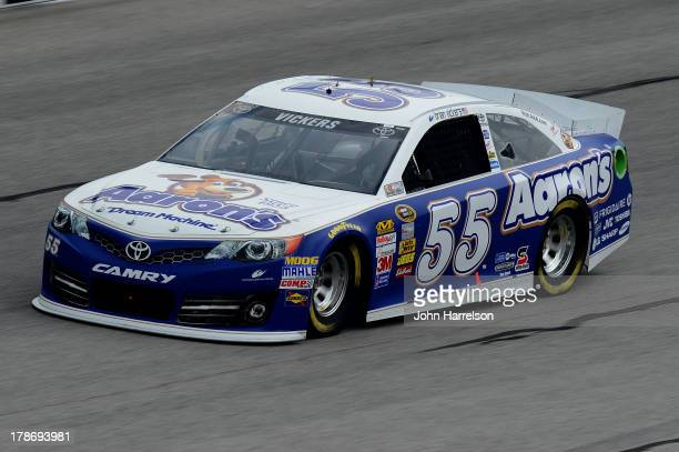 Brian Vickers driver of the Aaron's Dream Machine Toyota practices for the NASCAR Sprint Cup Series AdvoCare 500 at Atlanta Motor Speedway on August...