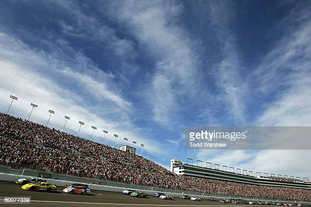 Brian Vickers driver of the Dollar General Toyota and Jeff Burton driver of the Holiday Inn Chevrolet lead the field to start the NASCAR Nationwide...