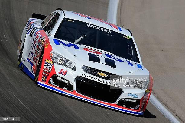Brian Vickers driver of the Mobil 1 Chevrolet drives during practice for the NASCAR Sprint Cup Series Kobalt 400 at Las Vegas Motor Speedway on March...