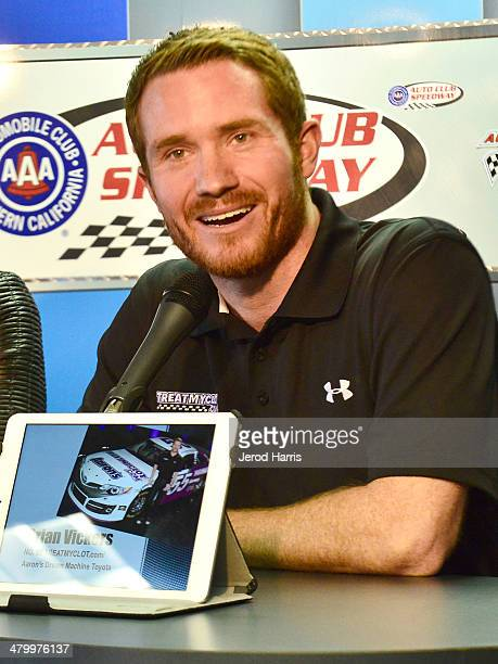 Brian Vickers, driver of the No. 55 TREATMYCLOT.com Aaron's Dream Machine Toyota, participating in a press conference to announce that Janssen...