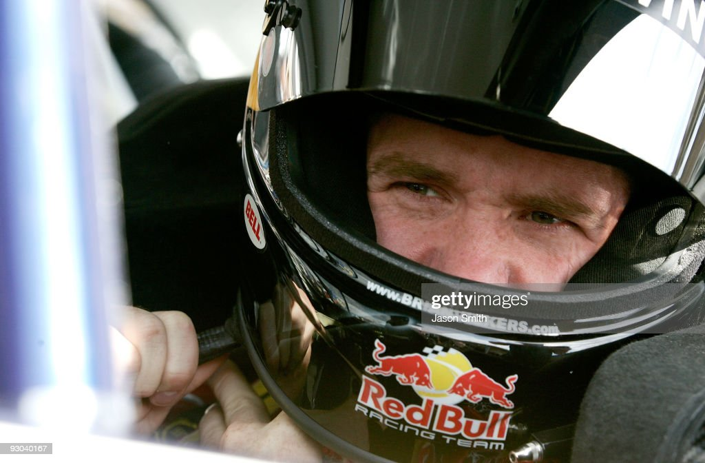 Brian Vickers, driver of the Red Bull Toyota prepares to