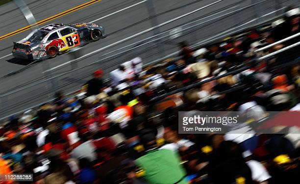 Brian Vickers drives the Red Bull Toyota during the NASCAR Sprint Cup Series Aaron's 499 at Talladega Superspeedway on April 17 2011 in Talladega...