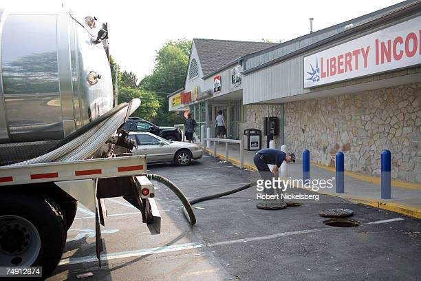 Brian Warren of Aqua Wastewater Management pumps out trap grease into his tank truck on June 1 in Woodlyn Pennsylvania a suburb of Philadelphia The...