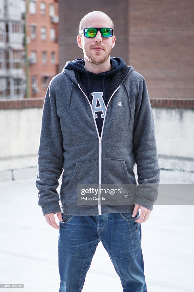 Brian wears Gap jumper, Element jacket, Joack&Jones trousers and New Balance trainers on March 3, 2015 in Madrid, Spain.