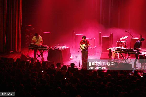 Brian Weitz 'Geologist' Dave Portner 'Avery Tare' and Noah Lennox 'Panda Bear' of Animal Collective perform at the Grand Ballroom at the Manhattan...