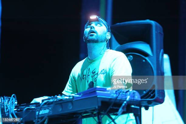 Brian Weitz of Animal Collective performs a benefit show for Celebrate Brooklyn at the Prospect Park Bandshell on July 12 2011 in the Brooklyn...