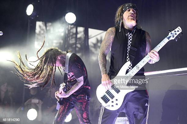Brian Welch and Reginald Arvizu of Korn perform during the Rockstar Energy Mayhem Festival at Shoreline Amphitheatre on July 6 2014 in Mountain View...