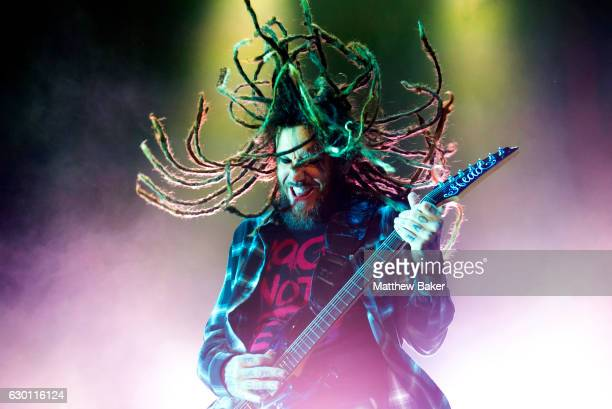 Brian Welch of Korn performs on stage at the SSE Arena on December 16 2016 in London England