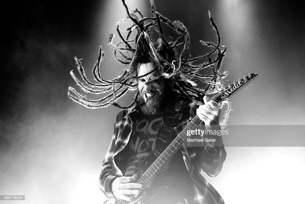 Brian Welch of Korn performs on stage at the SSE Arena on December 16, 2016 in London, England.