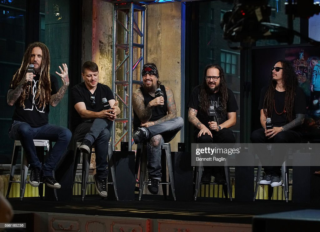 Brian Welch, Reggie Arvizu, Ray Luzier, Jonathan Davis, and James Murky Shaffer attend the BUILD Series presents Korn discusses 'The Serenity of Suffering' at AOL HQ on August 31, 2016 in New York City.