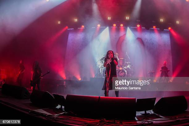 Brian Welch Tye Trujillo Jonathan Davis Davey Oberlin members of the band Korn performs live on stage at Espaco das Americas on April 19 2017 in Sao...
