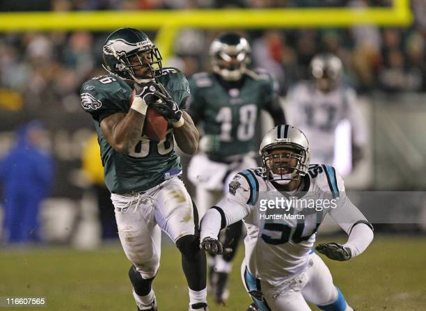 Brian Westbrook catches a pass during the game between the Carolina Panthers and the Philadelphia Eagles at Lincoln Financial Field in Philadelphia...