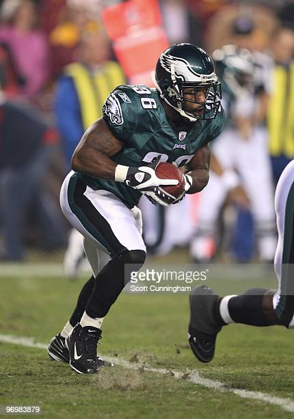 Brian Westbrook of the Philadelphia Eagles carries the ball against the Washington Redskins at Fedex Field on October 26 2009 in Landover Maryland