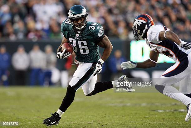 Brian Westbrook of the Philadelphia Eagles runs the ball against the Denver Broncos on December 27 2009 at Lincoln Financial Field in Philadelphia...