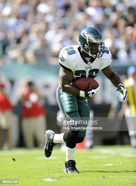 Brian Westbrook of the Philadelphia Eagles rushes against the New Orleans Saints at Lincoln Financial Field in Philadelphia Pennsylvania on September...