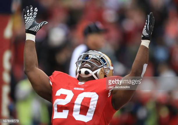 Brian Westbrook of the San Francisco 49ers celebrates after scoring a touchdown against the Arizona Cardinals during an NFL game at Candlestick Park...