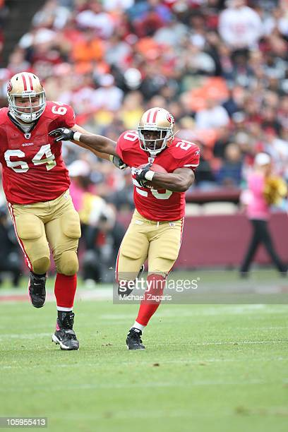 Brian Westbrook of the San Francisco 49ers rushes during a game against the Oakland Raiders at Candlestick Park on October 17 2010 in San Francisco...