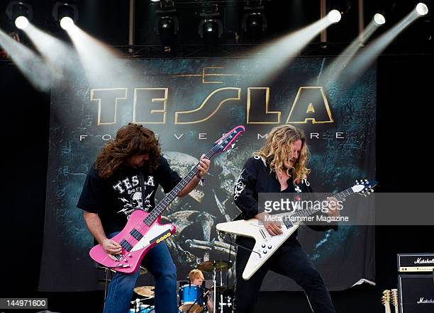 Brian Wheat and Frank Hannon of Tesla perform live on stage at Download Festival taken on June 14 2009 Photo by Rob Monk/Metal Hammer Magazine/Team...