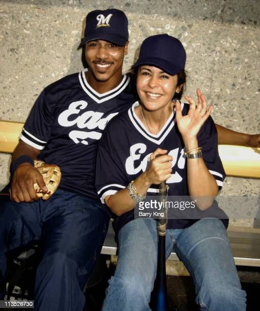 Brian White and Maria Conchita Alonso during The Walt Disney Company TotalAXIS 2004 Celebrity Softball Game at USC Dedeaux Field in Los Angeles...