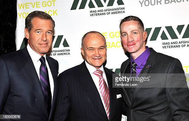Brian Willams of NBC police commissioner Ray Kelley and Veteran Leadership Award recipient Aaron Mankin attends IAVA's Fifth Annual Heroes Gala at...