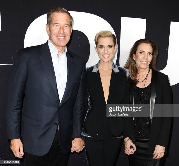 Brian Williams Allison Williams and Jane Stoddard Williams attend a screening of Get Out at Regal LA Live Stadium 14 on February 10 2017 in Los...
