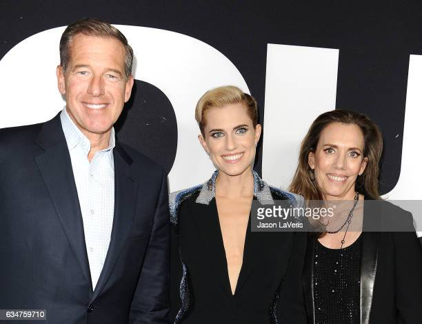 Brian Williams Allison Williams and Jane Stoddard Williams attend a screening of 'Get Out' at Regal LA Live Stadium 14 on February 10 2017 in Los...