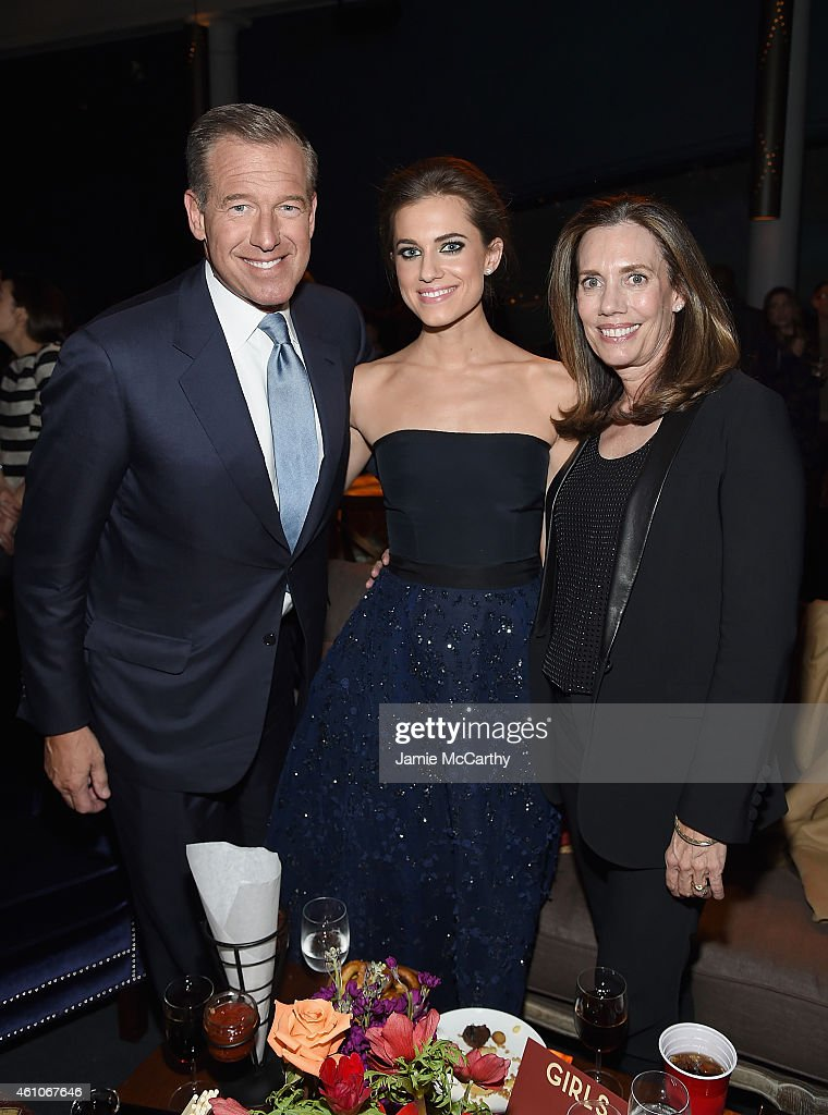 Brian Williams, Allison Williams and Jane Stoddard Williams attend the 'Girls' season four series premiere after party at The Museum of Natural History on January 5, 2015 in New York City.