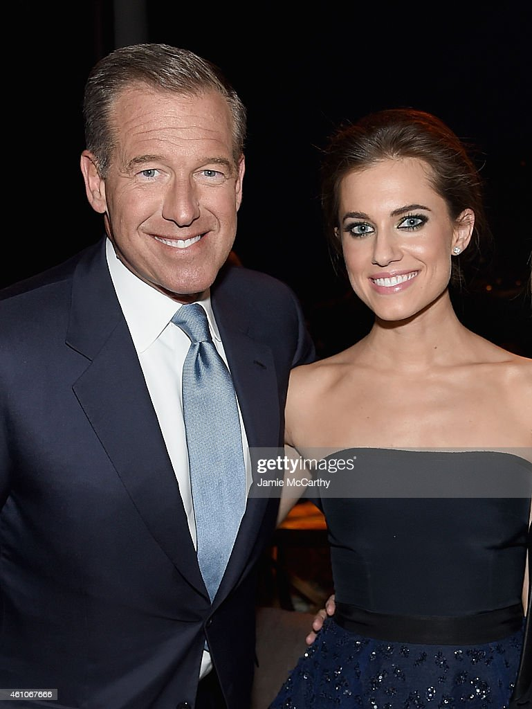 Brian Williams and Allison Williams attend the 'Girls' season four series premiere after party at The Museum of Natural History on January 5, 2015 in New York City.