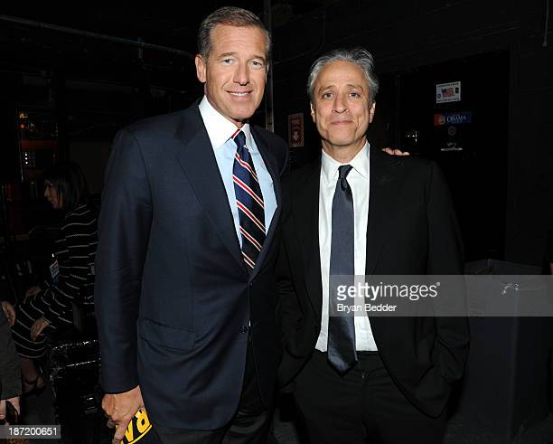 Brian Williams and Jon Stewart backstage at The New York Comedy Festival And The Bob Woodruff Foundation Present The 7th Annual Stand Up For Heroes...