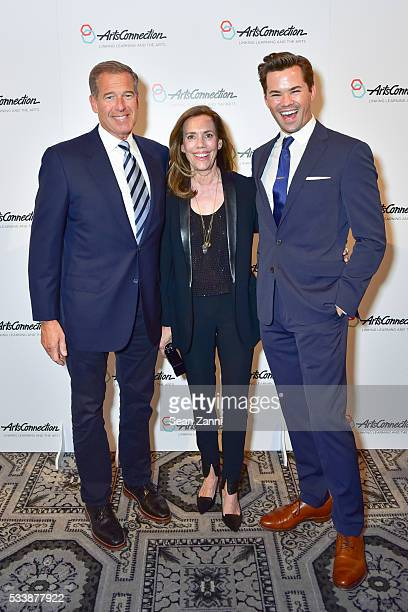 Brian Williams Jane Stoddard Williams and Andrew Rannells attend ArtsConnection 2016 Benefit Celebration at 583 Park Avenue on May 23 2016 in New...
