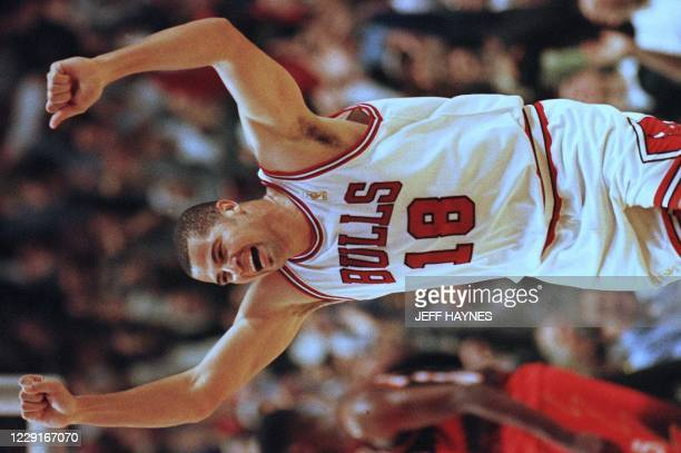 Brian Williams of the Chicago Bulls celebrates after scoring a basket 13 May during the second half of game five of the Eastern Conference Semifinals...