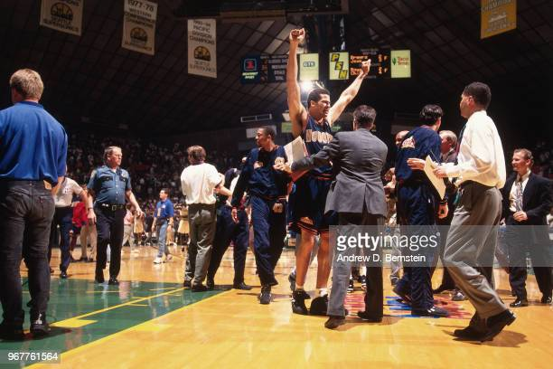 Brian Williams of the Denver Nuggets celebrates after Game Five of the Western Conference Quarterfinals against the Seattle SuperSonics on May 7 1994...