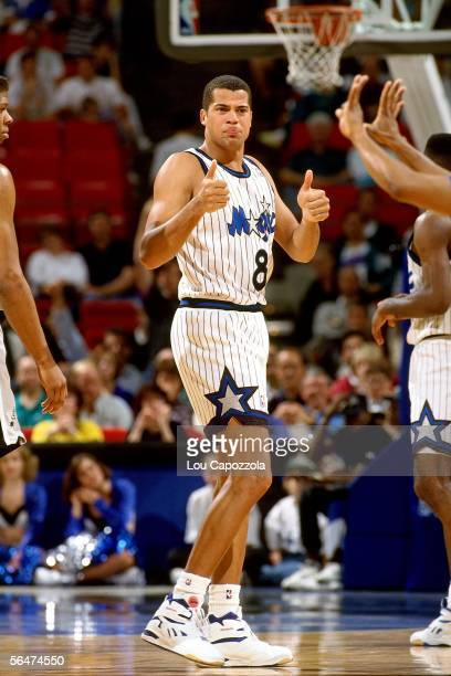 Brian Williams of the Orlando Magic signals thumbs up during a 1993 NBA game at the Orlando Arena in Orlando Florida NOTE TO USER User expressly...