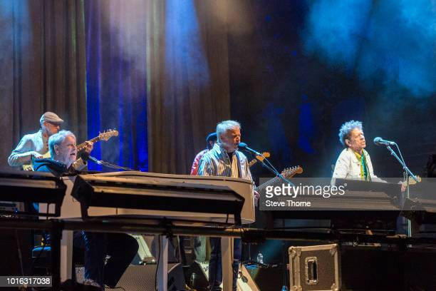 Brian Wilson, Al Jardine and Blondie Chaplin perform at Fairport Convention's Cropredy Convention at Cropredy on August 9, 2018 in Banbury, England.