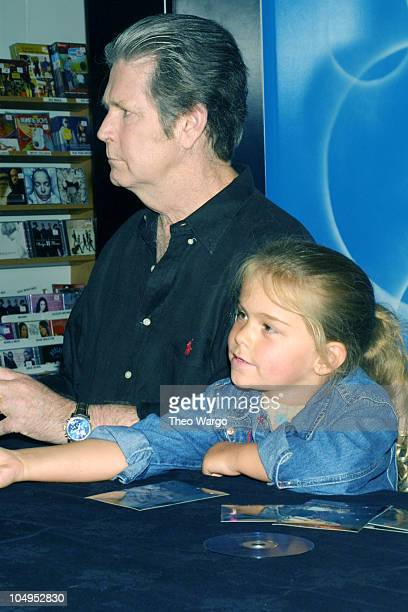 Brian Wilson and daughter Daria during Brian Wilson signs copies of his new CD Live at the Roxy at Tower Records in Lincoln Center New York City in...