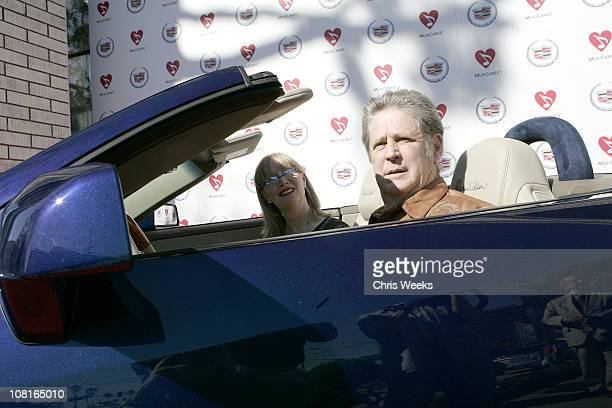 Brian Wilson and wife Melinda Wilson during Unveiling of the Brian Wilson Inspired XLR at Martin Cadillac Dealership in Los Angeles California United...