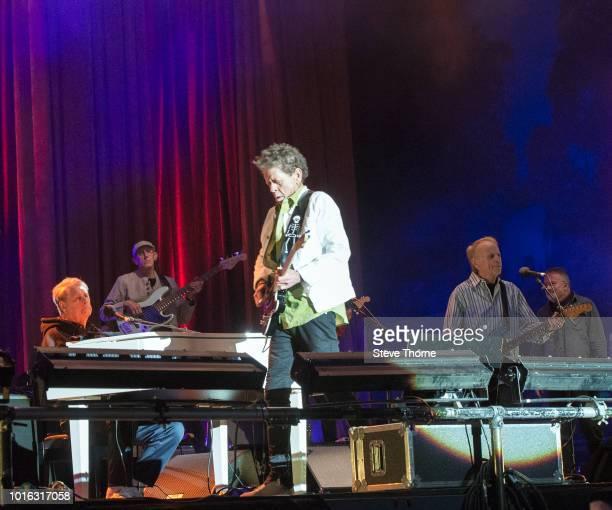 Brian Wilson, Blondie Chaplin and Al Jardine perform at Fairport Convention's Cropredy Convention at Cropredy on August 9, 2018 in Banbury, England.
