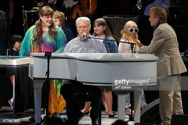 Brian Wilson celebrates his 73rd birthday with daughter Carnie Wilson granddaughter Lola Sofia Bonfiglio and Al Jardine at The Greek Theatre on June...