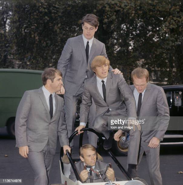 Brian Wilson Dennis Wilson Mike Love Al Jardine and Carl Wilson of American pop group The Beach Boys pose outside EMI House in Manchester Square...