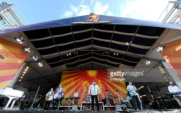 Brian Wilson, Mike Love and Al Jardine, Bruce Johnston and David Marks of The Beach Boys perform during the 2012 New Orleans Jazz & Heritage Festival...